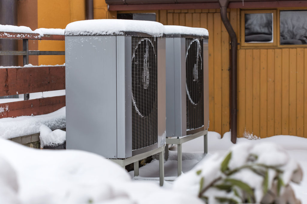 Two residential modern heat pumps in Knoxville, TN